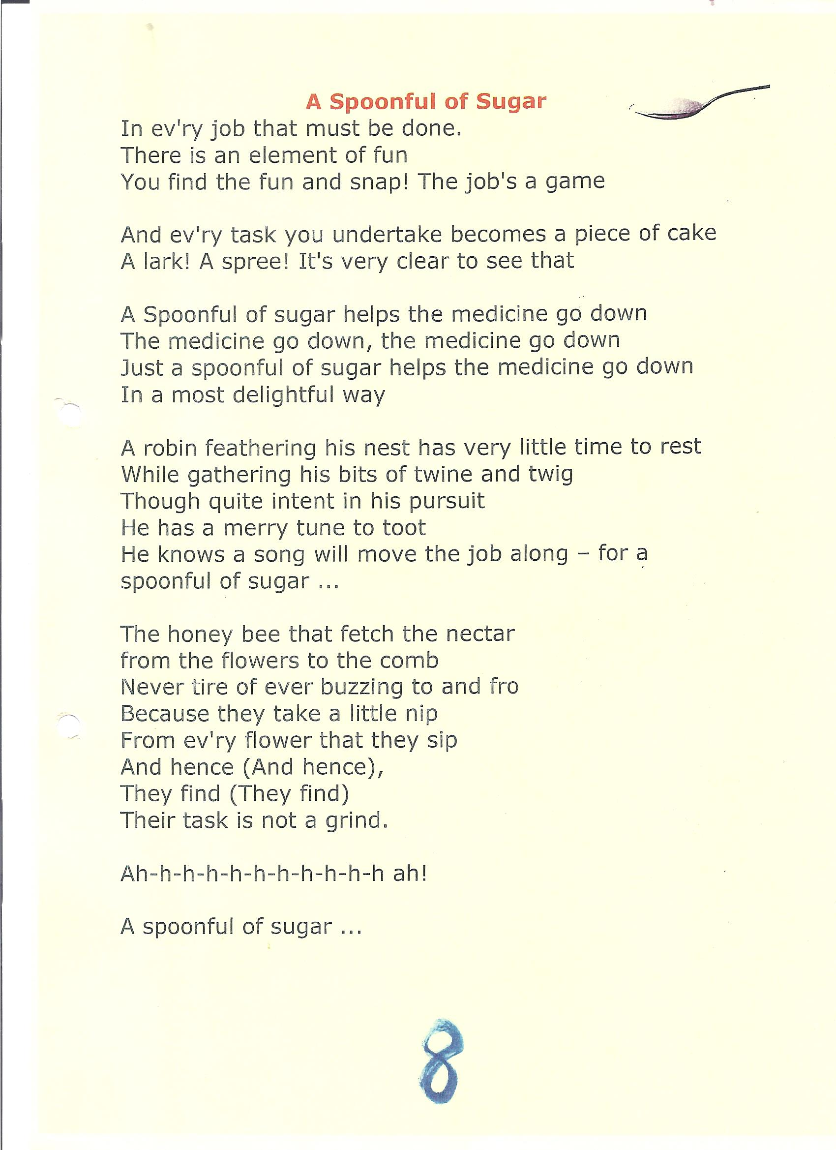 In My Bedroom Lyrics A Spoonful Of Sugar Lyrics Myideasbedroom Com